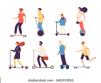 People riding skateboard. Man woman with electric vehicles ride motor skateboard longboard scooter skate isolated vector characters