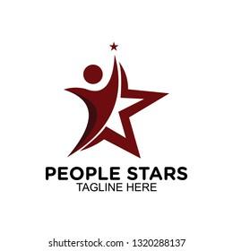 people rising star logo, clip art vector