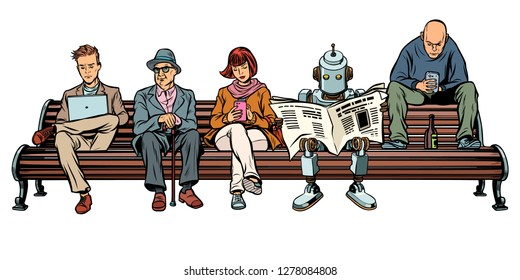 People and a robot sitting on a Park bench. Pop art retro vector illustration kitsch vintage