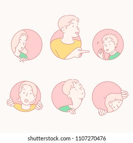 People in a round hole. hand drawn style vector doodle design illustrations.