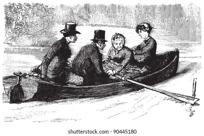 People in a rowing boat  / Vintage illustration from