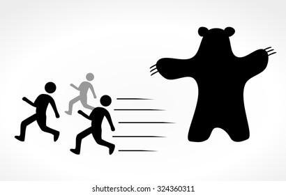 People run away from bear