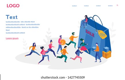 People Run, Black Friday Big Sale Banner, Vector Illustration for web, banner, print, UI, crowd of people running to the store on sale. Women and men hurry run to sale, promotion and discount.