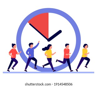 People run, hurry, rush to do on work, time is running out. Work time management concept, people and clock, deadline. People are late.  Business timing, concept of interaction people and time. Vector