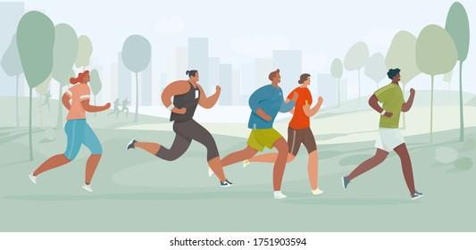 People run. Running men and women in morning park. Flat cartoon characters. Marathon race. Vector illustration.