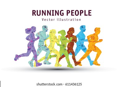 People run sport marathon color silhouette. olor vector illustration. EPS8