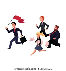 People running after, following the leader holding flag, business success, career concept, cartoon vector illustration isolated on white background. Group of businessmen running after the leader