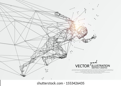 People running break through the Internet,Network connection turned into, vector illustration.