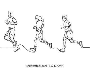 People running continuous one line drawing minimalism design vector illustration. Man and girls doing exercise for healthy lifestyle.