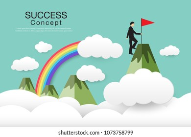 people running up a mountain, leadership, teamwork, success concept