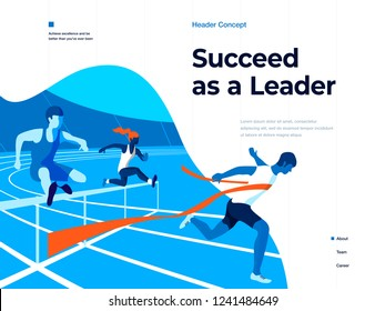 People running on the stadium to win and succeed. Bussines and Leadership. Flat vector illustration. Landing page and header concept