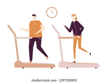 People running on treadmill - flat design style colorful illustration on white background, brown palette. High quality composition with male, female characters, boy and girl at the gym in earphones
