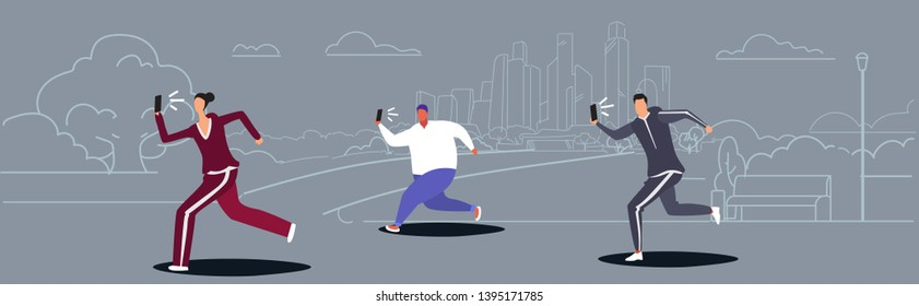 people running outdoor city park guy using phone taking selfie on smartphone camera social media network healthy lifestyle concept sketch doodle horizontal