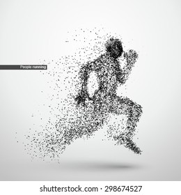 People running, particle divergent composition, vector illustration
