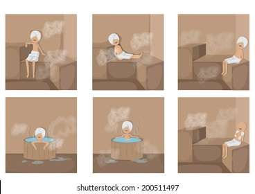 People In Sauna Set - Isolated On White Background - Vector Illustration, Graphic Design Editable For Your Design