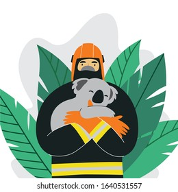 People save a koala In Australia during fires. vector flat illustration firefighters help animals