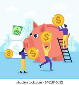 People save money in a large piggy bank. Vector illustration in flat design style.