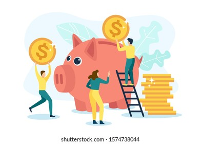 People save money in a large piggy bank. Vector illustration in flat design style