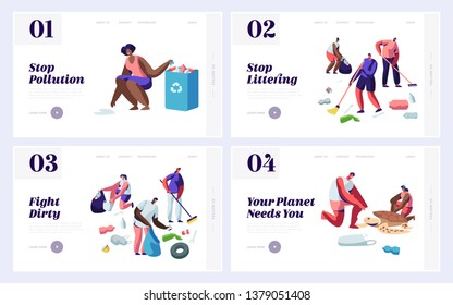 People Saving and Cleaning Planet from Trash Website Landing Page Templates Set. Male and Female Characters Raking Earth Surface, Recycle and Ecology. Web Page Cartoon Flat Vector Illustration, Banner