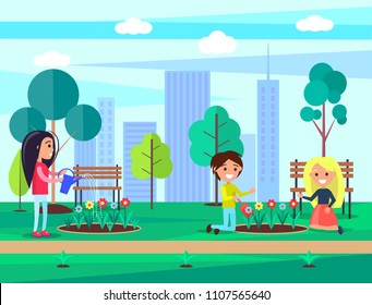 People saving nature and biodiversity in city full of skyscrapers, children with woman watering planting flourishing flowers, vector illustration