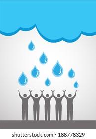 People saving water