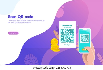 people scan QR code vector illustration concept, people use smartphone and scan qr code for payment and everything, can use for, landing page, template, ui, web, mobile app, poster, banner, flyer