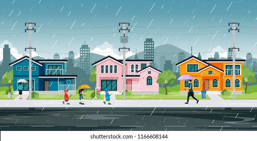 People and school children are walking home in the rain.