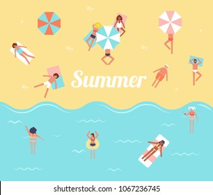 People in the sea. Men and women swimming, diving, lying on a floating air mattress and sunbathing. Flat cartoon vector illustration. Hello summer. Swimming pool. Tropical beach poster.