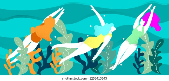 People in sea or ocean performing various activities.women swimming, diving.background.Summer Colorful vector illustration in contemporary art style.Modern flat color design.grain and noise texture.