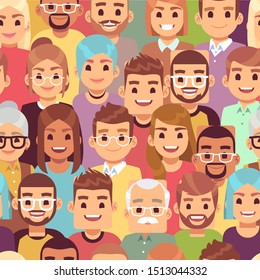 People seamless pattern. Multi ethnic men and women. African, european and asian humans, multicultural crowd, happy groups vector texture