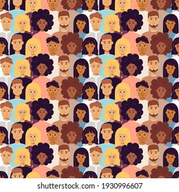 People Seamless Pattern. Vector Illustration of Trendy Background.