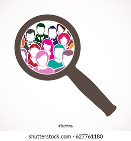 People Search icon, pictograph, web,  vector,  illustration,  picture, stock