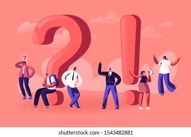 People Searching and Giving Information. Tiny Male and Female Characters around Huge Exclamation and Question Marks. Students Promoters and Businesspeople Communicate. Cartoon Flat Vector Illustration