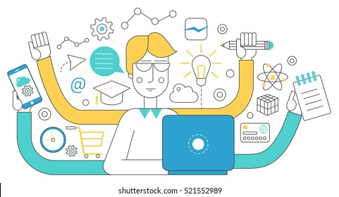 People self employment and different multitasking concept. Fast talented freelancer man near laptop. Project management business multitasking Flat line concept