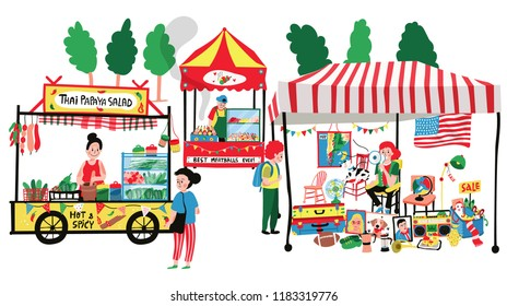 People selling and shopping at flea market or marketplace : second hand shop, thai papaya salad and meatballs stalls, all in colorful doodle cartoon flat design, illustration, vector, white background