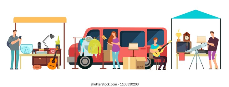 People selling, shopping second hand clothes, vintage goods in mini tracks at flea market. Bazaar with retro things vector illustration. Garage sale antique goods, selling retro
