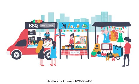 People selling and shopping at walking street consisting of barbecue food truck, som tum stall, and clothes and accessories shop, all is colorful doodle cartoon flat design, white background