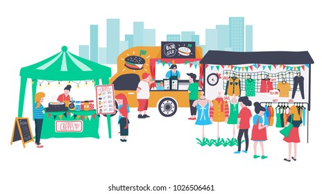 People selling and shopping at walking street consisting of burger food truck , clothes shop and crepe stall, colorful doodle cartoon flat design banner , illustration, vector