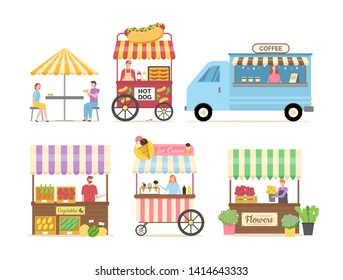 People selling street food and beverage vector, vegetables market with tent, coffee shop and hot dog meal with place for customers to sit and eat, food court