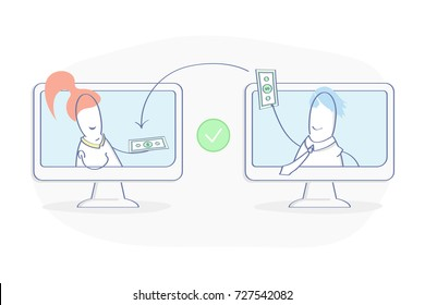 People sending and Receiving money, payments between the wallets. Payment Transfer, Transaction. Flat outline vector illustration. Premium quality line icon concept.