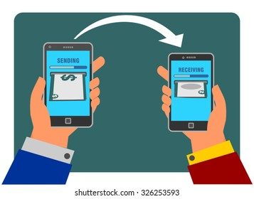 People sending and receiving money using their mobile phone. Internet banking and mobile payments using smartphone, cash and near field communication technology, online banking. Payment methods.