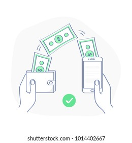People sending and receiving money wireless with from wallet to mobile phone, remittance. Hands holding smart phone and purse with cash, banking payment app. Flat outline vector illustration icon.