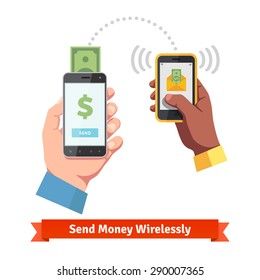 People sending and receiving money wireless with their mobile phones. Hands holding smart phones with banking payment apps. Flat style vector icons.