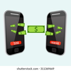 People sending and receiving money wireless with mobile phones. Flat style vector icons.