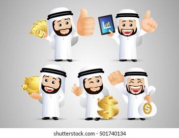 People Set - Arab office man. finance set. Gold