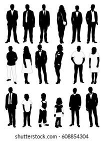 people, set of black and white silhouettes