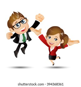 People Set - Business - Happy businesspeople jumping celebrating success achievement