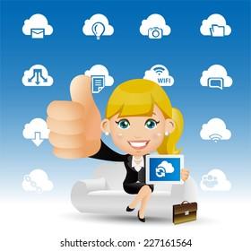 People Set - Cloud computing -Women on the cloud