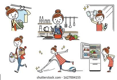 People set: housewife, housework, lifestyle