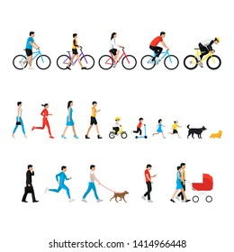 People set. Walk person, cicling person. Man, woman, children, boy, girl, dog. People in activity, walking with dog, go for a walk, go to work, runnig people, ride a bike, looking at smartphone.